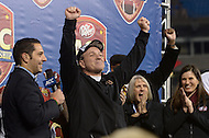 December 7, 2013  (Charlotte, North Carolina)  Florida State Seminoles head coach Jimbo Fisher celebrates winning the ACC Championship after his team defeated the Duke Blue Devils 45-7 at the Bank of America Stadium.  (Photo by Don Baxter/Media Images International)