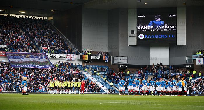 Ibrox Stadium falls silent before the match in memory of Sandy Jardine