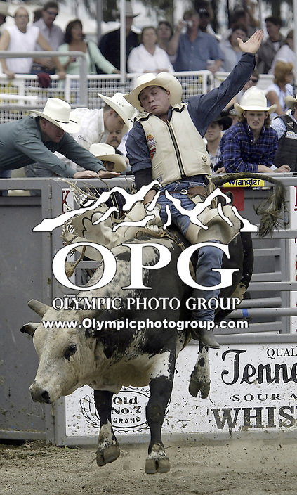 29 August, 2004:  Bull Rider Derald Riche rides the bull Salmon Hop during the PRCA 2004 Extreme Bulls competition in Bremerton, WA.