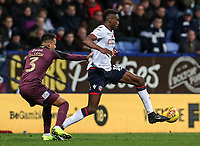 Bolton Wanderers' Sammy Ameobi breaks away from Swansea City's Martin Olsson<br /> <br /> Photographer Andrew Kearns/CameraSport<br /> <br /> The EFL Sky Bet Championship - Bolton Wanderers v Swansea City - Saturday 10th November 2018 - University of Bolton Stadium - Bolton<br /> <br /> World Copyright © 2018 CameraSport. All rights reserved. 43 Linden Ave. Countesthorpe. Leicester. England. LE8 5PG - Tel: +44 (0) 116 277 4147 - admin@camerasport.com - www.camerasport.com