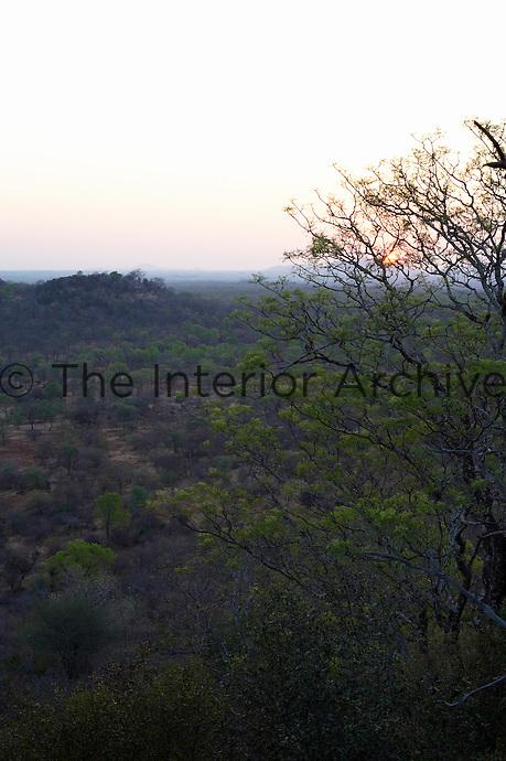 An elevated view over the surrounding countryside near the Singita Pamushana Lodge, Malilongwe Trust, Zimbabwe.