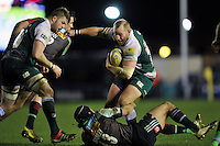 Leonardo Ghiraldini of Leicester Tigers takes on the Harlequins defence. Aviva Premiership match, between Harlequins and Leicester Tigers on February 19, 2016 at the Twickenham Stoop in London, England. Photo by: Patrick Khachfe / JMP