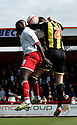Harlee Dean of Brentford and Patrick Agyemang of Stevenage (on loan from QPR) header. - Stevenage v Brentford - npower League 1 - Lamex Stadium, Stevenage - 21st April, 2012. © Kevin Coleman 2012