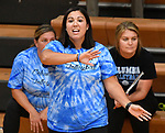 Columbia volleyball coach Elysia Sepich. Althoff defeated Columbia in two games in volleyball action on Thursday August 23, 2018.<br /> Tim Vizer/Special to STLhighschoolsports.com