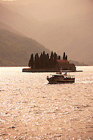 Boat in front of Sveti Juraj Island Kotor Bay, Montenegro