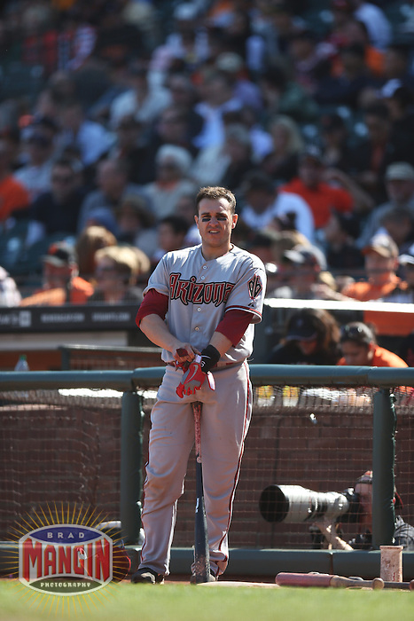 SAN FRANCISCO - SEPTEMBER 27:  Miguel Montero of the Arizona Diamondbacks waits in the on deck circle during the game against the San Francisco Giants at AT&T Park on September 27, 2012 in San Francisco, California. (Photo by Brad Mangin)