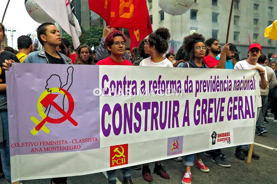Ato contra a reforma da previdencia. Avenida Paulista. Sao Paulo. 2019. Foto de Marcia Minillo