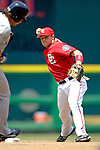 17 June 2006: Brendan Harris (left), infielder for the Washington Nationals, doubles off Johnny Damon during a game against the New York Yankees at RFK Stadium, in Washington, DC. The Nationals overcame a seven run deficit to win 11-9 in the second game of the interleague series...Mandatory Photo Credit: Ed Wolfstein Photo...