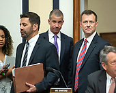 "FBI Deputy Assistant Director Peter Strzok, right, arrives with his attorney Aitan Goelman, left, prior to giving testimony during a joint hearing of the United States House Committee on the Judiciary and the US House Committee on Oversight and Government Reform on ""Oversight of FBI and DOJ Actions Surrounding the 2016 Election"" on Capitol Hill in Washington, DC on Thursday, July 12, 2018. <br /> Credit: Ron Sachs / CNP<br /> (RESTRICTION: NO New York or New Jersey Newspapers or newspapers within a 75 mile radius of New York City)"