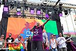 President of FELGTB Uge Sangil during the presentation of the lgtb pride party of Madrid. July 3, 2019. (ALTERPHOTOS/JOHANA HERNANDEZ)
