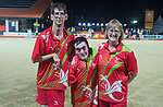 Wales Jonathan HUBBARD, Raymond Lillicrop &amp; Pauline WILSON in action during the Open B6/B7/B8 Triples<br /> <br /> *This image must be credited to Ian Cook Sportingwales and can only be used in conjunction with this event only*<br /> <br /> 21st Commonwealth Games - Bowls -  Day 4 - 08\04\2018 - Boardbeach Bowls Club - Gold Coast City - Australia
