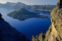 Wizard Island and Crater Lake<br /> Crater Lake National Park<br /> Cascade Range<br /> Oregon
