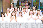 Holy Cross NS Killarney looking angelic after receiving their First Holy Communion in St Mary's Cathedral on Saturday front row l-r: Saoirse Freisinger, Leoni Baker, Kelly Anne Ahern, Nicole McCarthy, Ellen Corridon. Middle row: Kiah Doona, Amy O'Sullivan, Maeve Hegarty, Amy O'Callaghan. Back row: Amy Roche, Laura O'Brien, Robyn Sheehan.          Copyright Kerry's Eye 2008
