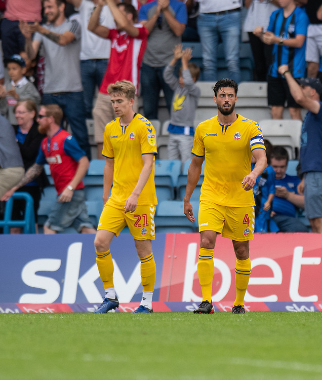 Bolton Wanderer's skipper Jason Lowe (right) looks on int frustration after the team conceding a 4th goal<br /> <br /> Photographer David Horton/CameraSport<br /> <br /> The EFL Sky Bet League One - Gillingham v Bolton Wanderers - Saturday 31st August 2019 - Priestfield Stadium - Gillingham<br /> <br /> World Copyright © 2019 CameraSport. All rights reserved. 43 Linden Ave. Countesthorpe. Leicester. England. LE8 5PG - Tel: +44 (0) 116 277 4147 - admin@camerasport.com - www.camerasport.com