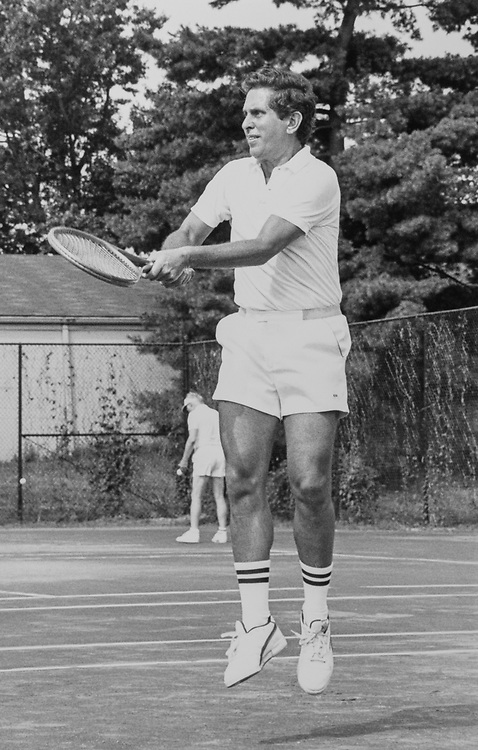 Rep. Stephen J. Solarz's, D-N.Y., playing tennis at Capitol Hill tennis club on July 10, 1990. (Photo by Maureen Keating/CQ Roll Call)