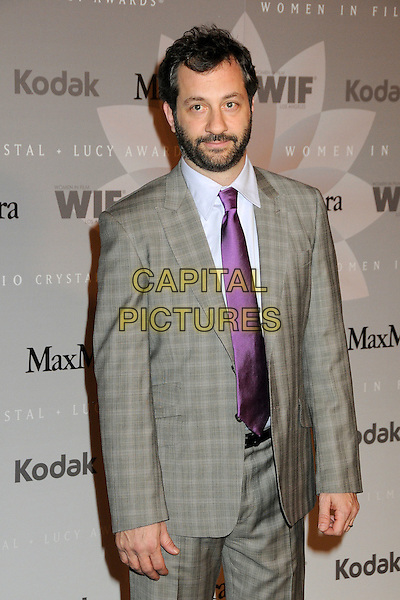 JUDD APATOW.2010 Women In Film Crystal+Lucy Awards held at the Hyatt Regency Century Plaza Hotel, Century City, California, USA..June 1st, 2010.half length tie suit jacket shirt check checked  beard facial hair grey gray purple blue.CAP/ADM/BP.©Byron Purvis/AdMedia/Capital Pictures.