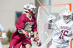 Los Angeles, CA 02/17/14 - Joseph Coleman (Santa Clara #10) and Jackson DeWolfe (LMU #16) in action during the Santa Clara University - Loyola Marymount University MCLA's Men's lacrosse game at Loyola Marymount University.  Santa Clara defeated LMU 11-10 in overtime.