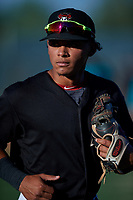 AZL D-backs third baseman Jose Curpa (3) jogs off the field between innings of an Arizona League game against the AZL Mariners on July 3, 2019 at Salt River Fields at Talking Stick in Scottsdale, Arizona. The AZL D-backs defeated the AZL Mariners 3-1. (Zachary Lucy/Four Seam Images)
