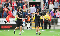 Lincoln City's assistant manager Nicky Cowley, left, and Lincoln City manager Danny Cowley at the end of the game<br /> <br /> Photographer Chris Vaughan/CameraSport<br /> <br /> The EFL Sky Bet Championship - Rotherham United v Lincoln City - Saturday 10th August 2019 - New York Stadium - Rotherham<br /> <br /> World Copyright © 2019 CameraSport. All rights reserved. 43 Linden Ave. Countesthorpe. Leicester. England. LE8 5PG - Tel: +44 (0) 116 277 4147 - admin@camerasport.com - www.camerasport.com