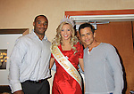 "Alivia Ayers (Queen Pomona XXXIII) poses with General Hospital's Scott Reeves ""Dr. Steven Lars Webber"" is the Celebrity Grand Marshal and Sports Celebrity Virginia Tech, NFL, WFL wide receiver Shawn Scales at the 33rd Annual Mountain State Apple Harvest Festival (MSAHF) 2012 on October 20, 2012 at the Bob Elmer Celebrity Sports Breakfast sponsored by the Rotary Club in Martinsburg, West Virginia. (Photo by Sue Coflin/Max Photos)"