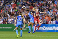 Bridgeview, IL - Saturday August 12, 2017: Samantha Johnson, Tyler Lussi during a regular season National Women's Soccer League (NWSL) match between the Chicago Red Stars and the Portland Thorns FC at Toyota Park. Portland won 3-2.