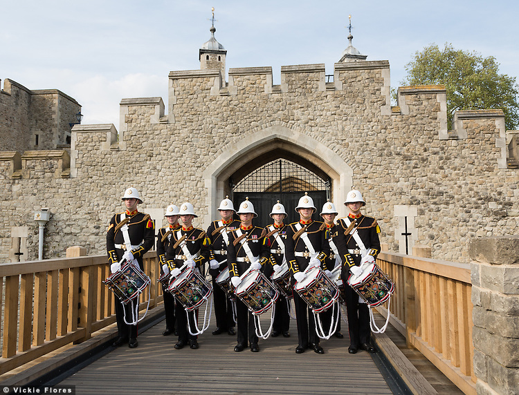 Royal Marines perform outside the Tower of London on 30th April 2014. The Royal Marines Corps of Drums are attempting to break the World record for the longest continuous drum roll as part of a year of celebrations to mark the 350th anniversary of the Royal Marines and raising money for the Royal Marines Charitable Trust Fund. The current record stands at 28 hours, 19 minutes and 3 seconds and they hope to extend this to 64 hours.