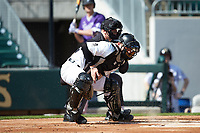 Wake Forest Demon Deacons catcher Brendan Tinsman (9) blocks a pitch in the dirt as home plate umpire Jon Byrne looks on during the game against the Furman Paladins at BB&T BallPark on March 2, 2019 in Charlotte, North Carolina. The Demon Deacons defeated the Paladins 13-7. (Brian Westerholt/Four Seam Images)