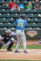Kevin Brown (35) of the Myrtle Beach Pelicans at bat against the Winston-Salem Dash at BB&T Ballpark on May 10, 2015 in Winston-Salem, North Carolina.  The Pelicans defeated the Dash 4-3.  (Brian Westerholt/Four Seam Images)