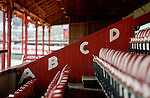 Barnsley 1 Millwall 0, 22/02/2014. Oakwell, Championship. Millwall make the journey from south London to South Yorkshire for a Championship relegation battle with Barnsley. Original lettering in The West Stand (built in 1904) which is the only original part of Oakwell Stadium. Photo by Simon Gill.