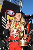 Feb 26, 2017; Chandler, AZ, USA; NHRA top fuel driver Leah Pritchett celebrates after winning the Arizona Nationals at Wild Horse Pass Motorsports Park. Mandatory Credit: Mark J. Rebilas-USA TODAY Sports
