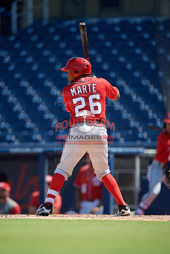 Washington Nationals Daniel Marte (26) at bat during an Instructional League game against the Miami Marlins on September 26, 2019 at FITTEAM Ballpark of The Palm Beaches in Palm Beach, Florida.  (Mike Janes/Four Seam Images)