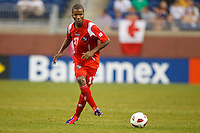 Panama defender Luis Henríquez (17) passes the ball during the CONCACAF soccer match between Panama and Guadeloupe at Ford Field Detroit, Michigan.