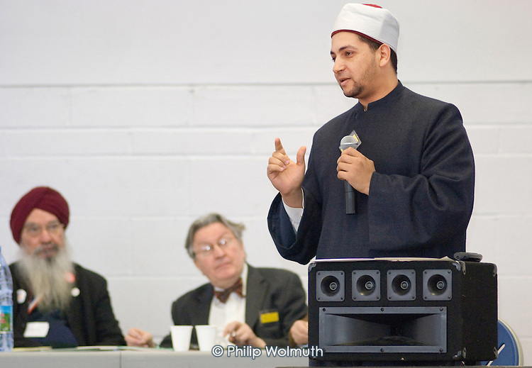 Sheik Salah Yusuf Muhammad Al-Ansari, Imam of the Islamic Cultural Centre at Regents Park Mosque, speaks at a Faith Culture in Diversity Youth Conference, organised by Central London Youth Development, at the Stowe Centre, Paddington.