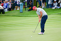 Patrick Reed (USA) barely misses his putt on 3 during round 3 Four-Ball of the 2017 President's Cup, Liberty National Golf Club, Jersey City, New Jersey, USA. 9/30/2017.<br /> Picture: Golffile | Ken Murray<br /> <br /> All photo usage must carry mandatory copyright credit (&copy; Golffile | Ken Murray)