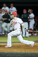 Kennan Stanley (3) of the Belmont Abbey Crusaders follows through on his swing against the Catawba Indians at Abbey Yard on February 7, 2017 in Belmont, North Carolina.  The Crusaders defeated the Indians 12-9.  (Brian Westerholt/Four Seam Images)