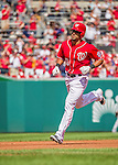 28 September 2014: Washington Nationals shortstop Ian Desmond rounds the bases after hitting a solo home run in the second inning against the Miami Marlins at Nationals Park in Washington, DC. The Nationals shut out the Marlins 1-0 on Desmond's homer, caping the season with the first Nationals no-hitter in modern times. The win also notched a 96 win season for the Nats: the best record in the National League. Mandatory Credit: Ed Wolfstein Photo *** RAW (NEF) Image File Available ***