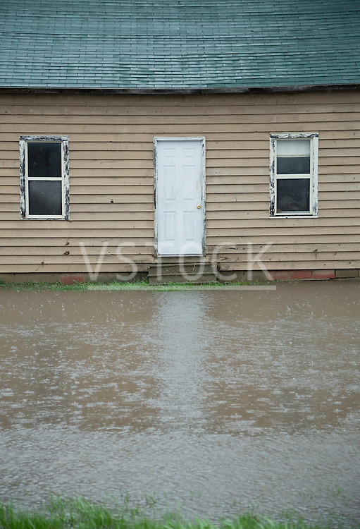 Close up of facade of flooded house