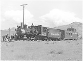 #278 with long caboose #0588.  Man in front of engine turning switch.  Site near Sapinero.<br /> D&amp;RGW  Sapinero, CO  Taken by Richardson, Robert W. - 7/7/1949