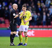 Referee Anthony Taylor speaks to Blackburn Rovers' Richard Smallwood<br /> <br /> Photographer Chris Vaughan/CameraSport<br /> <br /> The EFL Sky Bet Championship - Sheffield United v Blackburn Rovers - Saturday 29th December 2018 - Bramall Lane - Sheffield<br /> <br /> World Copyright © 2018 CameraSport. All rights reserved. 43 Linden Ave. Countesthorpe. Leicester. England. LE8 5PG - Tel: +44 (0) 116 277 4147 - admin@camerasport.com - www.camerasport.com