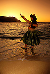 Hawaii: Kauai, Hula dancer, model released, sunset. Photo:hicult101.Photo copyright Lee Foster, 510/549-2202, lee@fostertravel.com, www.fostertravel.com