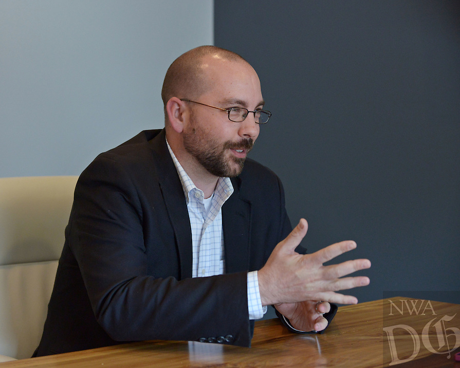 NWA Democrat-Gazette/BEN GOFF @NWABENGOFF<br /> Michael Paladino, co-founder and chief technology officer at RevUnit, talks life and career on Friday April 22, 2016 at the RevUnit office in downtown Bentonville.