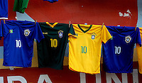Brazil shirts with the number 10 of Neymar Jnr are sold near Est?dio Presidente Vargas, Fortaleza