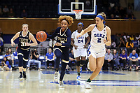 DURHAM, NC - JANUARY 26: Jasmine Carson #2 of Georgia Tech is chased by Haley Gorecki #2 of Duke University during a game between Georgia Tech and Duke at Cameron Indoor Stadium on January 26, 2020 in Durham, North Carolina.