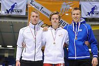 SCHAATSEN: HEERENVEEN: IJsstadion Thialf, 30-01-15, Viking Race, Internationaal Jeugdtoernooi 11-16 jaar, Podium 500m Jongens 16 jaar, Niek Deelstra (G-FR), Bjorn Magnussen (NOR), Juho-Jaakko Yli-Ilkka (FIN), ©foto Martin de Jong