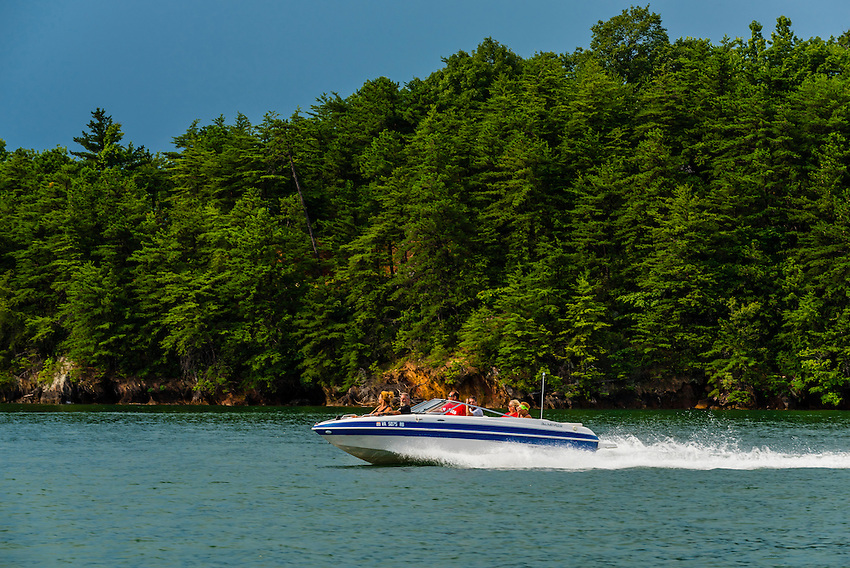 A power boat on Smith Mountain Lake, near Roanoke, Virginia USA.