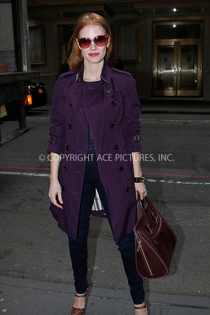 WWW.ACEPIXS.COM....January 2 2013, New York City....Jessica Chastain arrives for a performance of the Broadway play 'The Heiress' at the Walter Kerr Theater on January 2 2012 in New York City.......By Line: Nancy Rivera/ACE Pictures......ACE Pictures, Inc...tel: 646 769 0430..Email: info@acepixs.com..www.acepixs.com