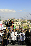 Israel, Jerusalem, Easter, Palm Sunday procession on the Mount of Olives