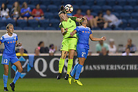 Bridgeview, IL - Wednesday August 16, 2017: Christine Nairn, Danielle Colaprico during a regular season National Women's Soccer League (NWSL) match between the Chicago Red Stars and the Seattle Reign FC at Toyota Park.