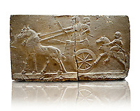 Sculpted Assyrian relief panels of Royal Chariot & Guards  from Hadatu ( Aslantas ) around 800 B.C. Istanbul Archaeological museum Inv No. 1946