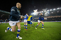 Picture by Allan McKenzie/SWpix.com - 08/02/2018 - Rugby League - Betfred Super League - Leeds Rhinos v Hull KR - Elland Road, Leeds, England - A general view of Leeds warming up.